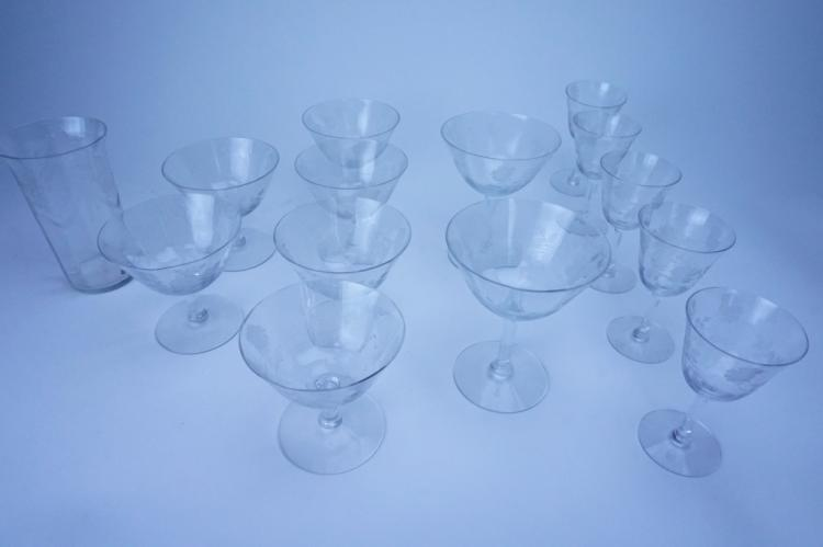 24pcs ASSORTED HC FRY GLASS CO ETCHED GLASS
