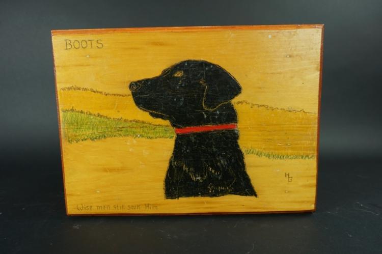VINTAGE FOLK ART WOOD STOOL