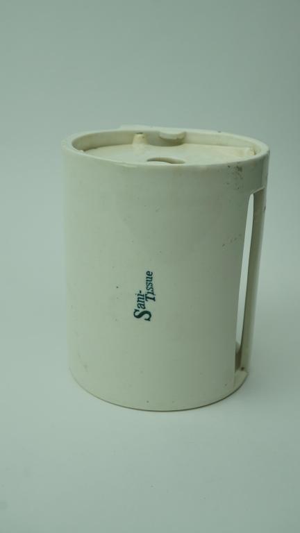 ANTIQUE PORCELIAN SANI-TISSUE TOILET PAPER HOLDER