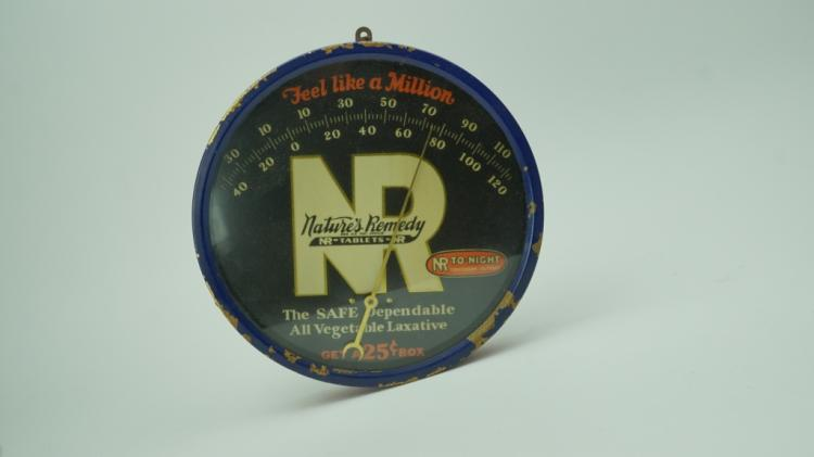ANTIQUE NATURES REMEDY ROUND THERMOMETER