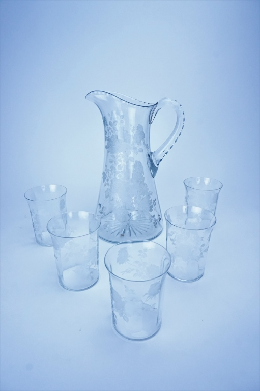 6pc H.C. FRY GLASS COMPANY ROSE PITCHER SET