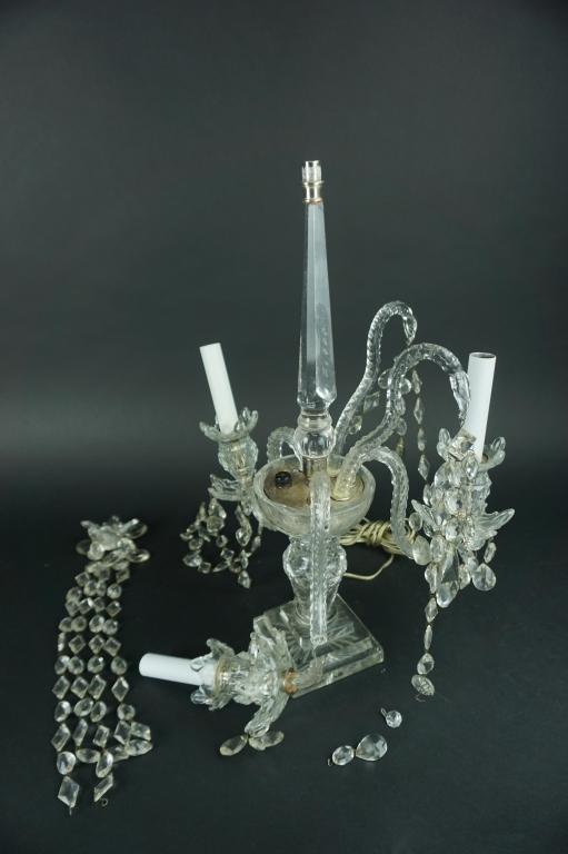 VINTAGE GLASS 4-LIGHT GLASS CANDELABRA