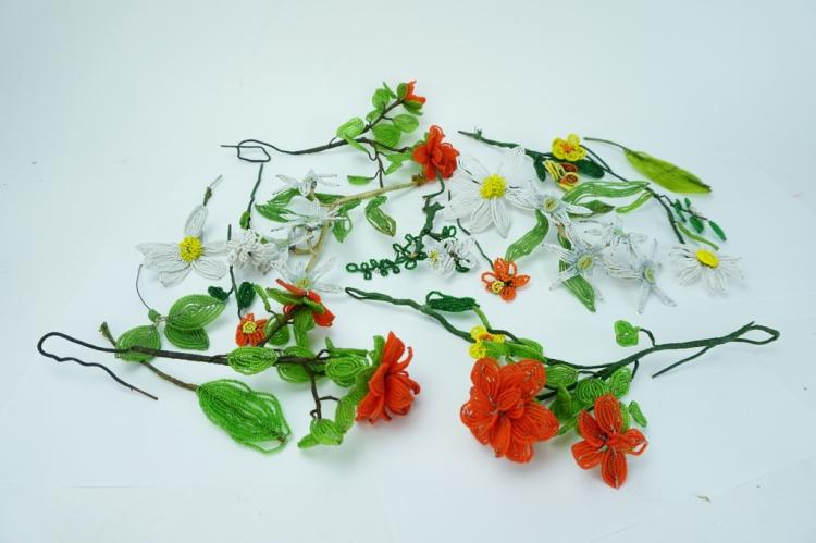 (15) VINTAGE FRENCH GLASS BEADED FLOWERS