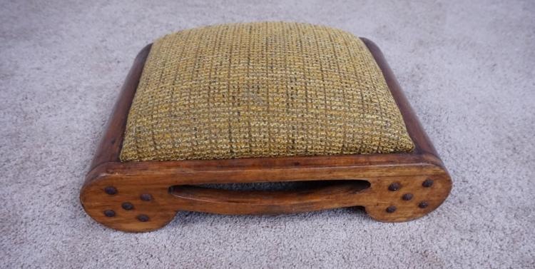 PRIMITIVE UPHOLSTERED OAK FOOT REST