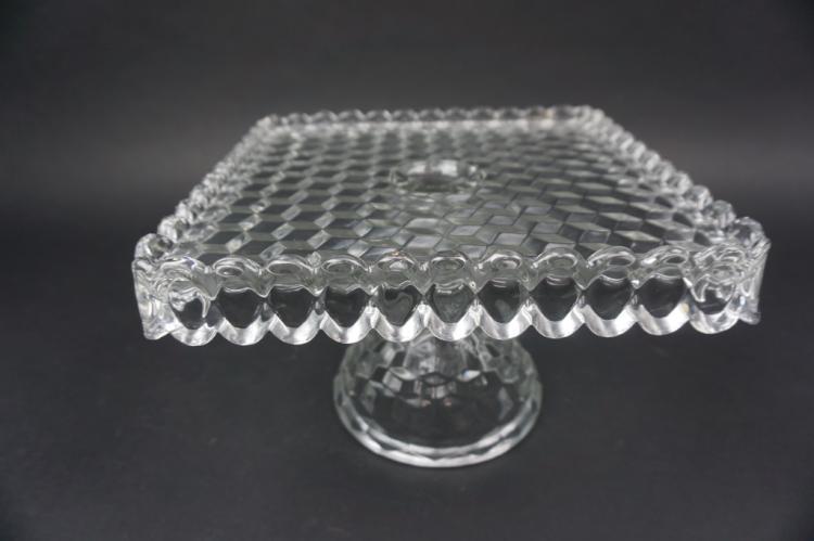 VINTAGE FOSTORIA AMERICAN PRESSED GLASS CAKE STAND