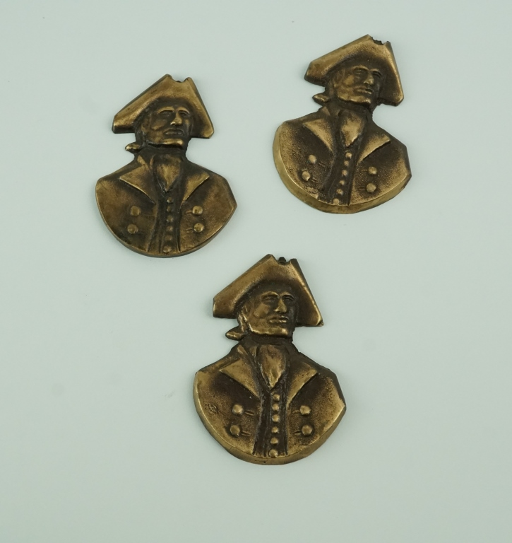 (3) VINTAGE CAST BRASS COLONIAL BUSTS