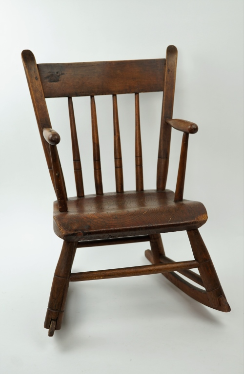 ANTIQUE PLANK SEAT CHILD'S ROCKER