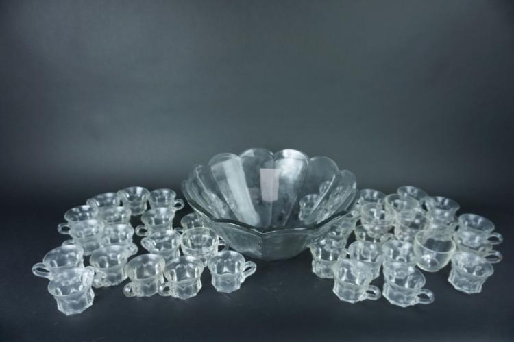 40pcs GLASS PUNCH BOWL SET