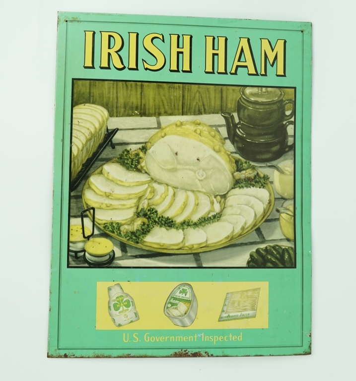 VINTAGE IRISH HAM ADVERTISING SIGN