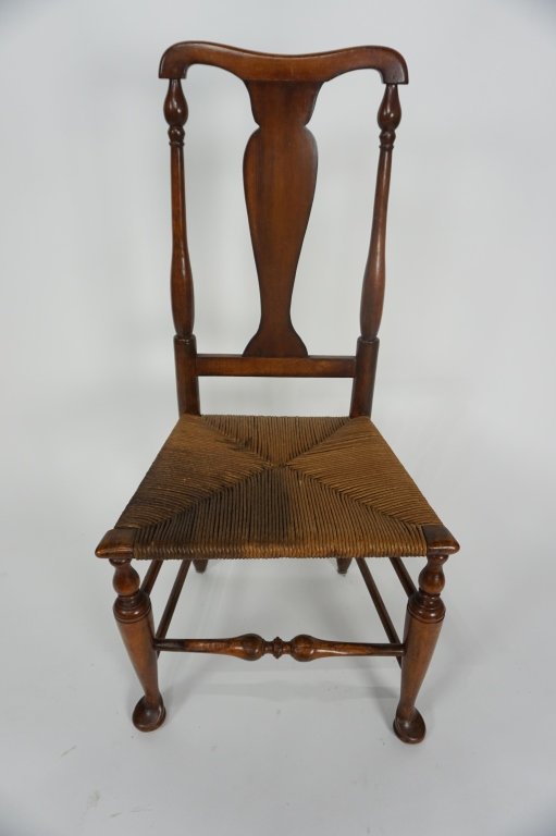 ANTIQUE QUEEN ANNE RUSH-SEAT CHAIR