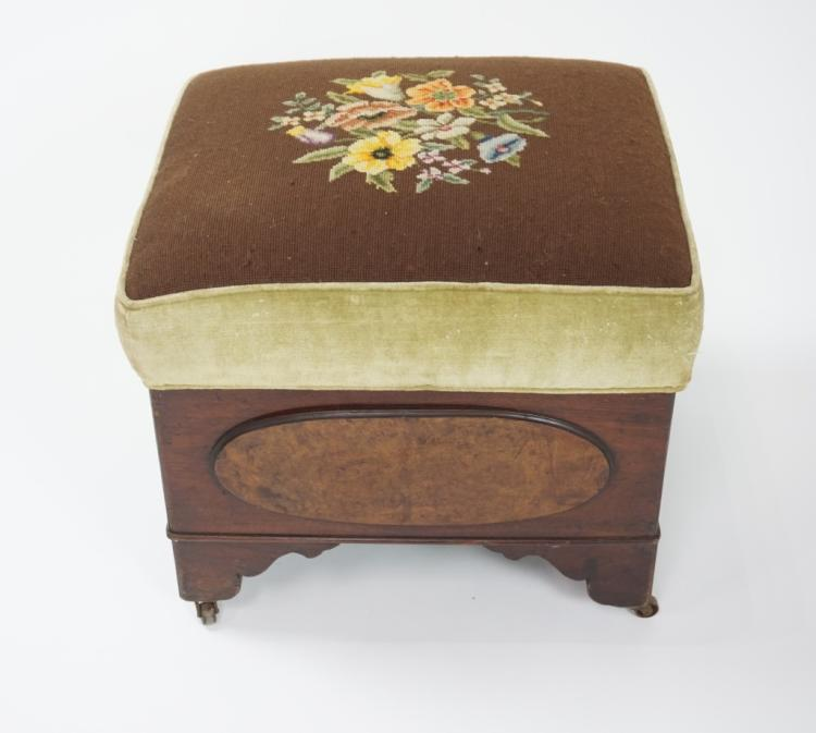 ANTIQUE OTTOMAN WITH NEEDLEPOINT COVER