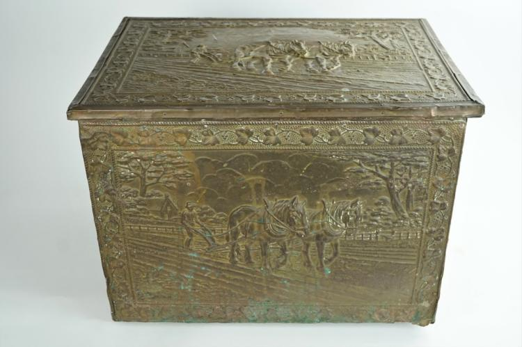 ANTIQUE BRASS COVERED KINDLING BOX