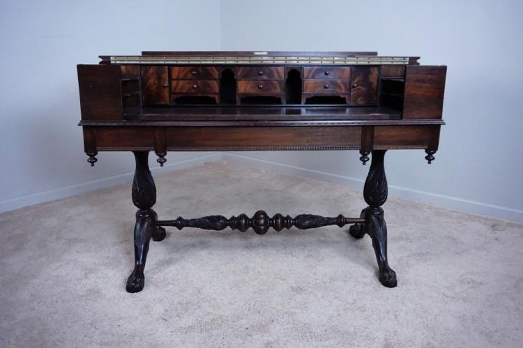 MAHOGANY CHIPPENDALE SPINNET DESK