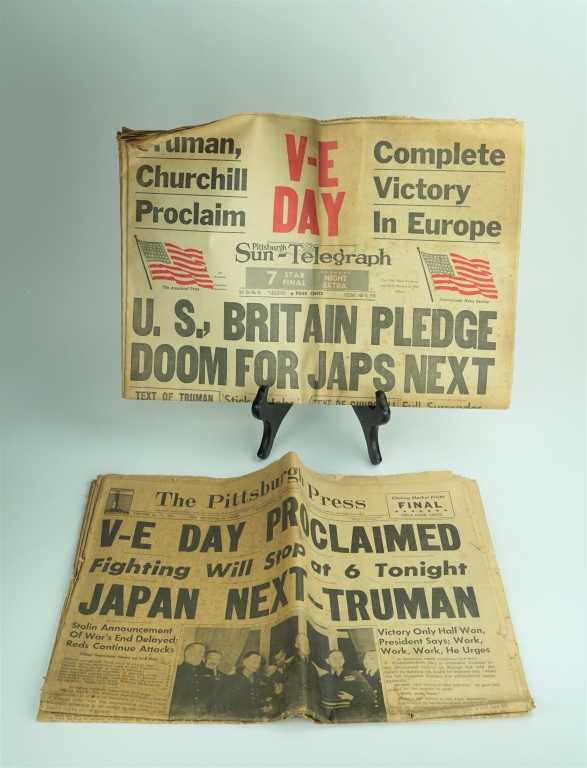 (2) WORLD WAR II NEWSPAPERS