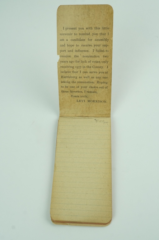 ANTIQUE 1896 LEVI MORRISON CAMPAIGN SOUVENIR
