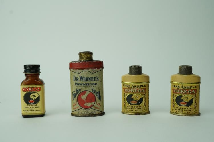 (4) VINTAGE DENTAL POWDER CONTAINERS