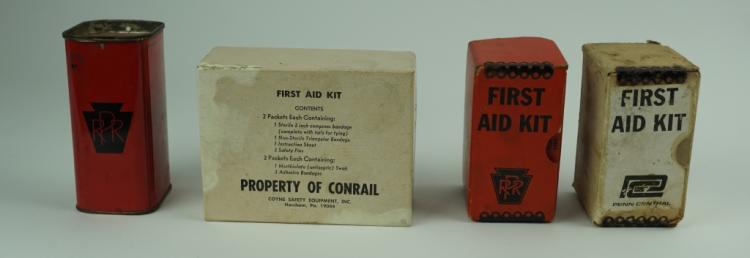 (4) VINTAGE RAILROAD FIRST AID KITS