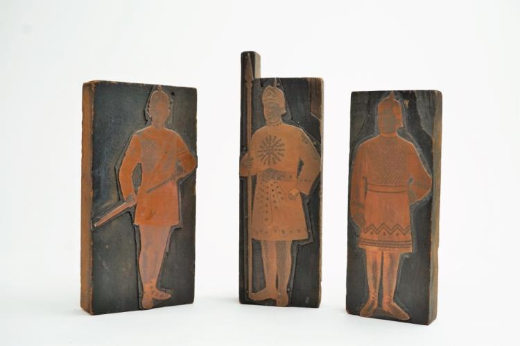 (3) ANTIQUE PRINTERS BLOCKS OF SOLDIERS
