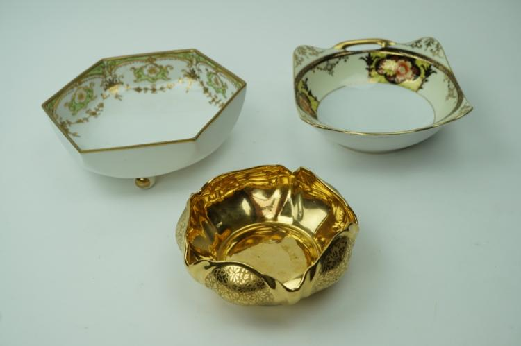 (3) ASSORTED VINTAGE PORCELAIN BOWLS