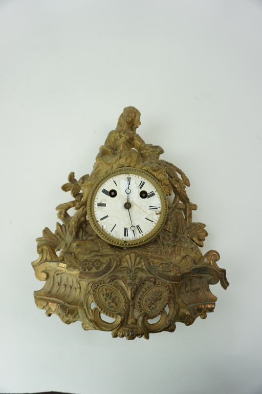 ANTIQUE CAST SPELTER MANTLE CLOCK