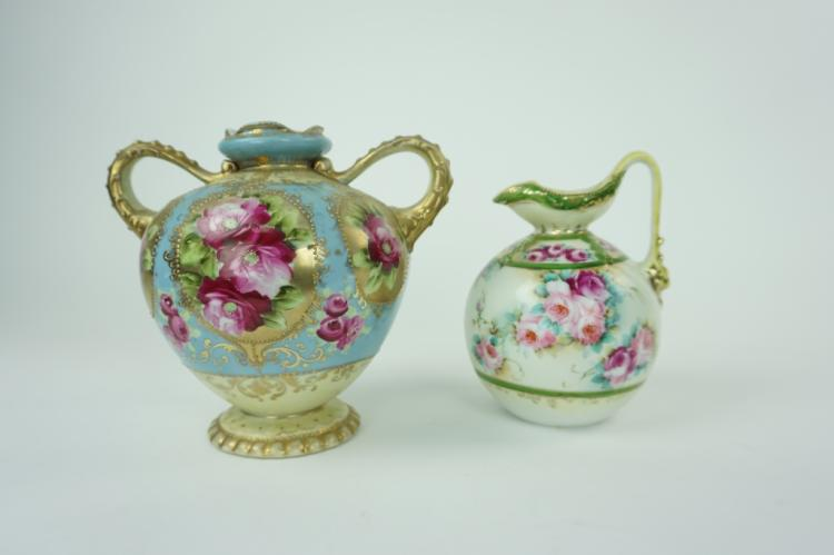 (2) ANTIQUE NIPPON HAND PAINTED VASES
