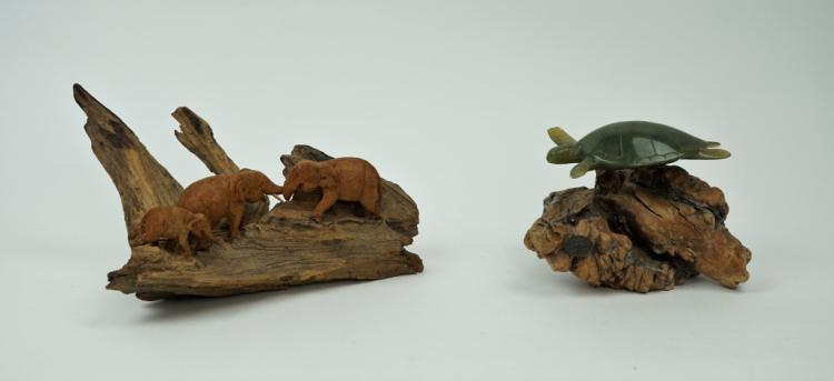 (2) VINTAGE ANIMAL SCULPTURES ON DRIFTWOOD
