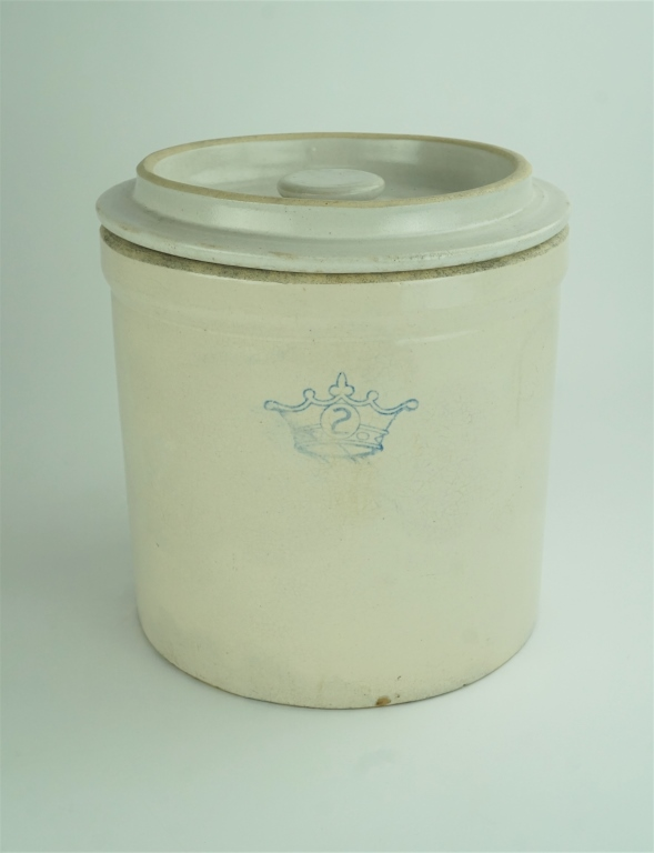 RANSBOTTOM 2 GALLON STONEWARE CROCK WITH LID