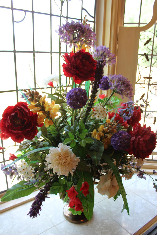 Lot Large Artificial Flower Arrangement
