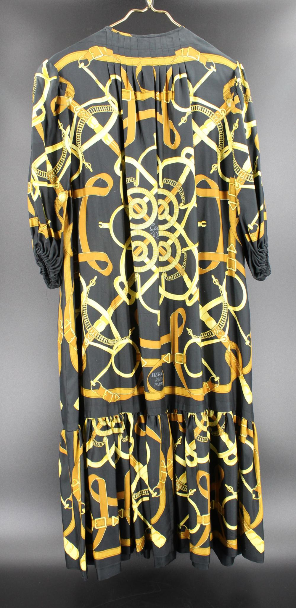 HERMES PARIS EPERON D'OR SILK PRINT DRESS