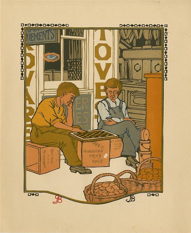 GUSTAVE BAUMANN - Original color woodcut