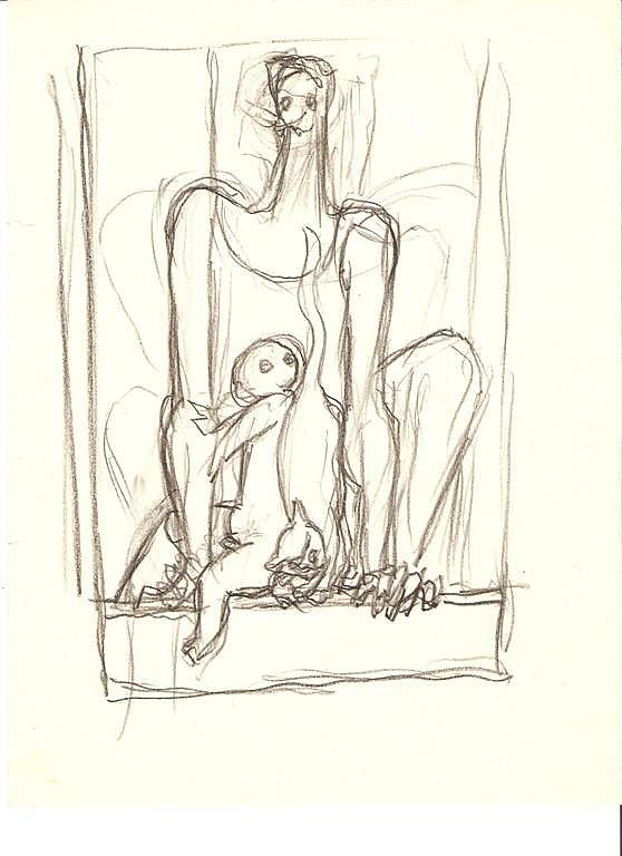 SANTOS BALMORI - Original pencil drawing