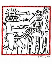 KEITH HARING [after] - Color marker drawing on paper