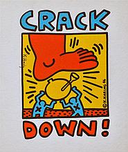 KEITH HARING - Colored inks on fabric