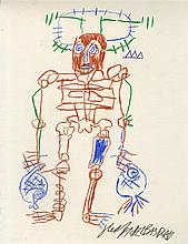 JEAN-MICHEL BASQUIAT [after] - Colored pencils on paper