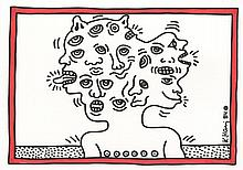 KEITH HARING [after] - Color drawing (red and black markers)