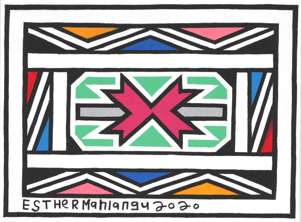 Esther Mahlangu (South Africa 1935-) Ndebele patterns, 2020