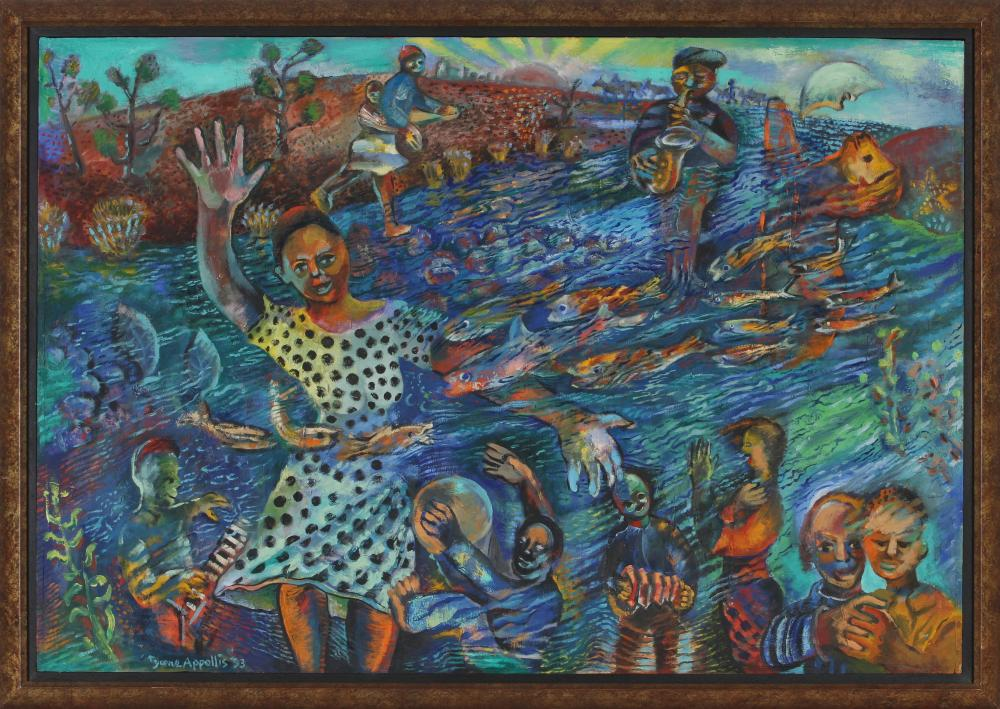 Tyrone Appollis (South Africa 1957-) Figures and fish, 1993