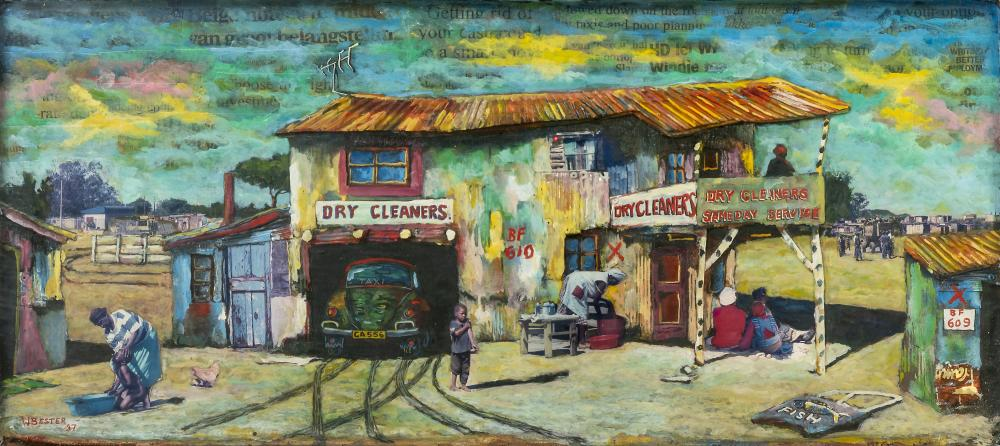 Willie Bester (South Africa 1956-) Untitled (Dry cleaners), 1997