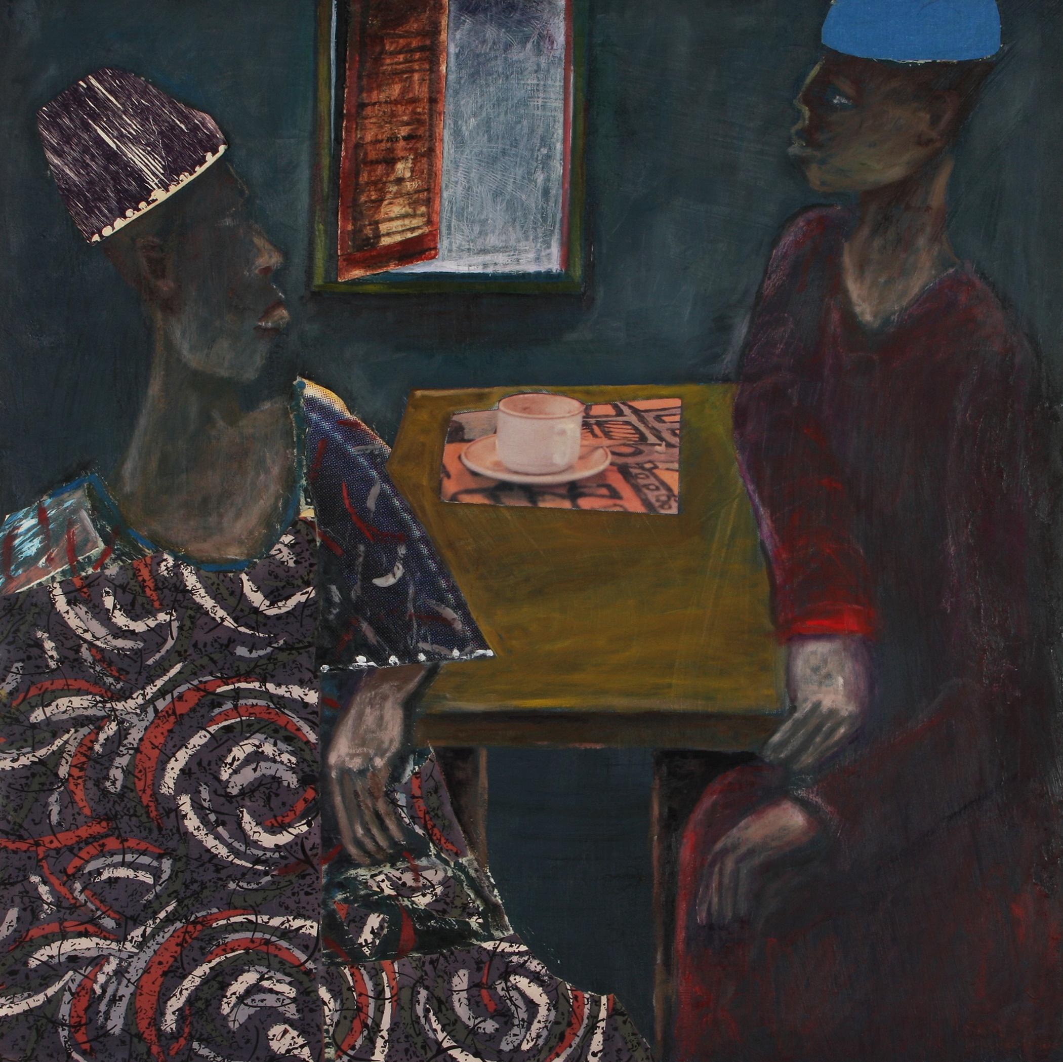 Sam Nhlengethwa (South Africa 1955-) Drinking Tea, 1995
