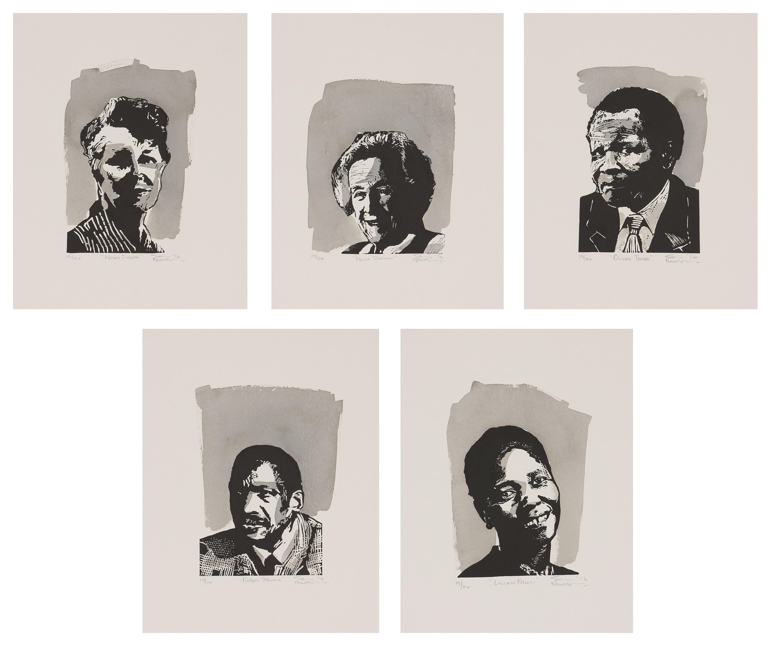 Sam Nhlengethwa (South Africa 1955-) Mzansi Legends: Including: Helen Suzman, Lilian Ngoyi, Oliver Thambo, Helen Joseph and Robert Sobukwe (five), 2016