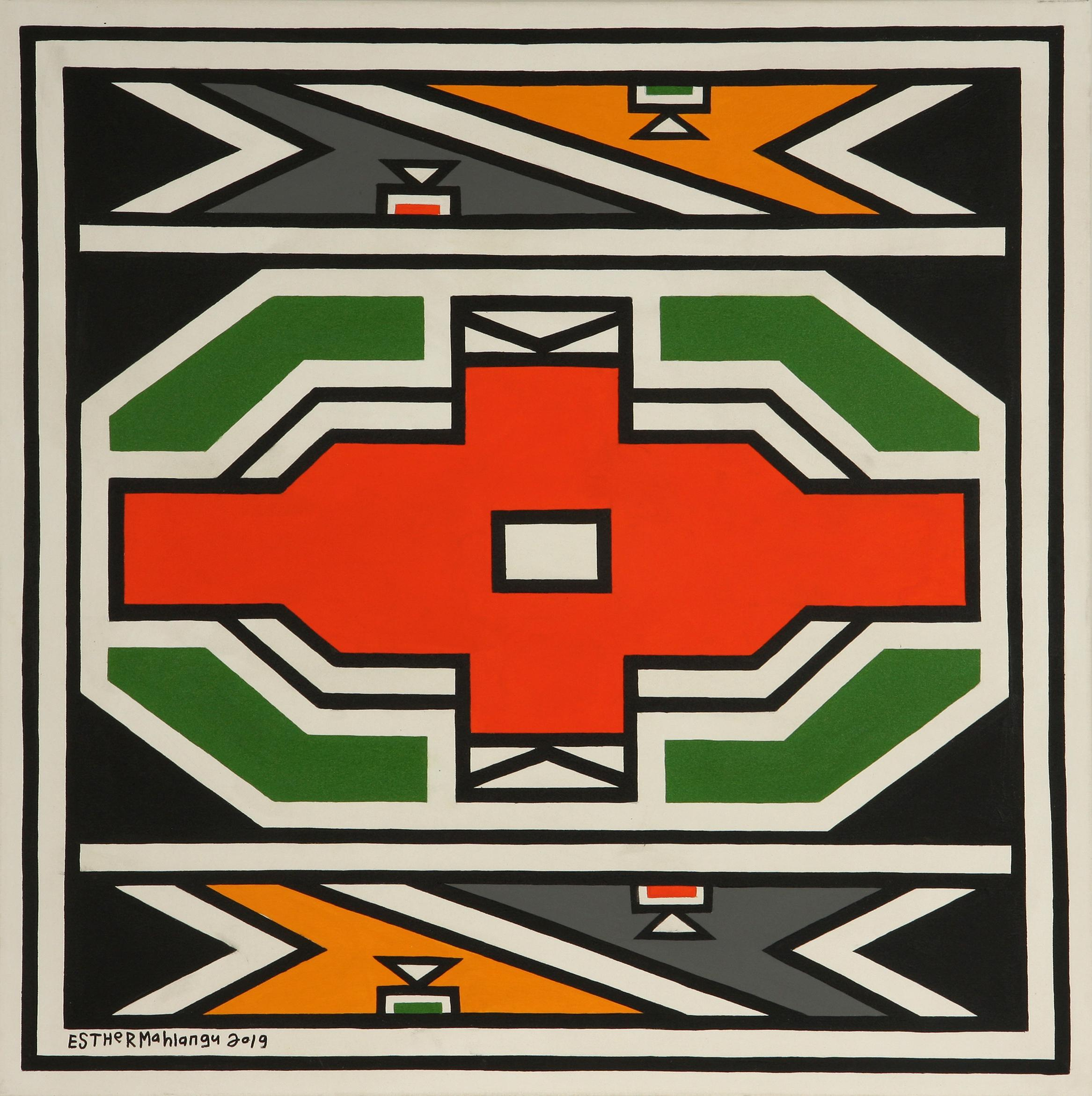 Esther Mahlangu (South Africa 1935-) Ndebele Abstract, 2019