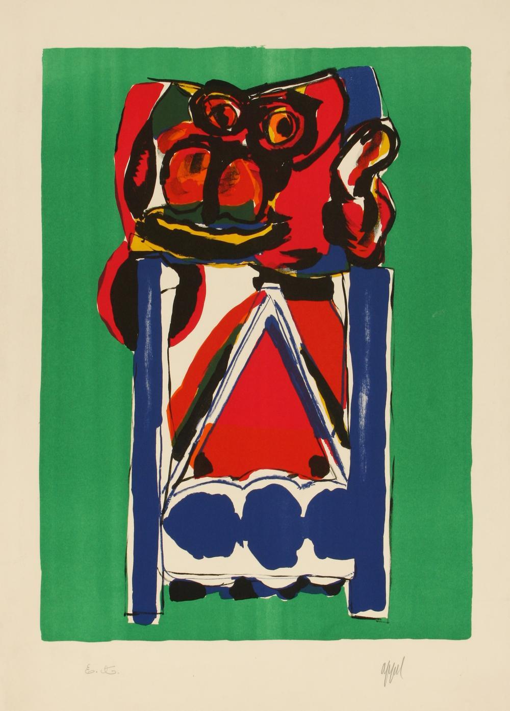 Karel Appel (Netherlands 1921-2006) Untitled (figure on green)