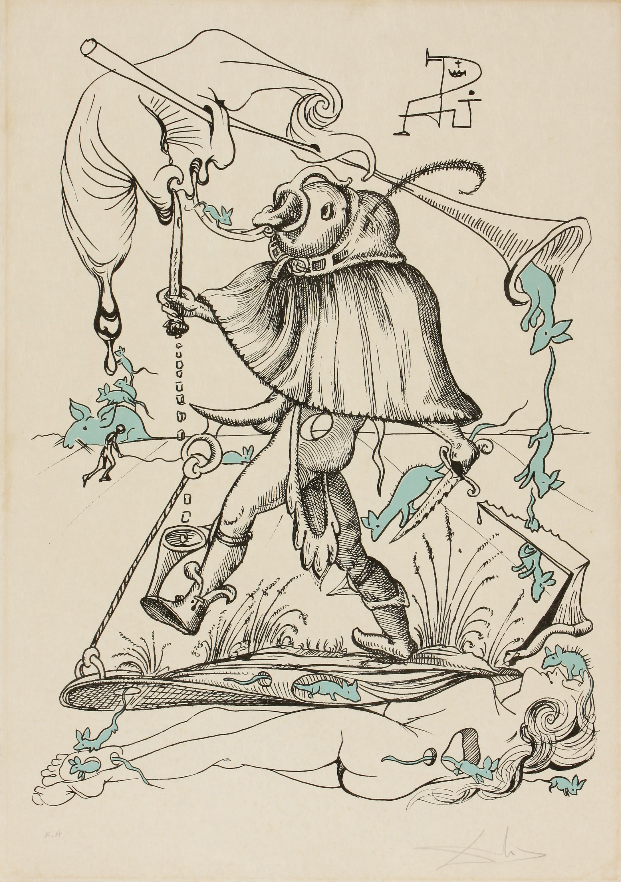 Salvador Dali (Spain 1904-1989) Les Songes Drolatiques de Pantagruel, VIII (le charmeur des rats), 1973