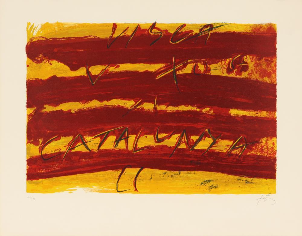 Antoni Tàpies (Spain 1923-2012) Drapeau Catalan (Catalan Flag) from Derrière le Miroir (Behind the Mirror), 1972