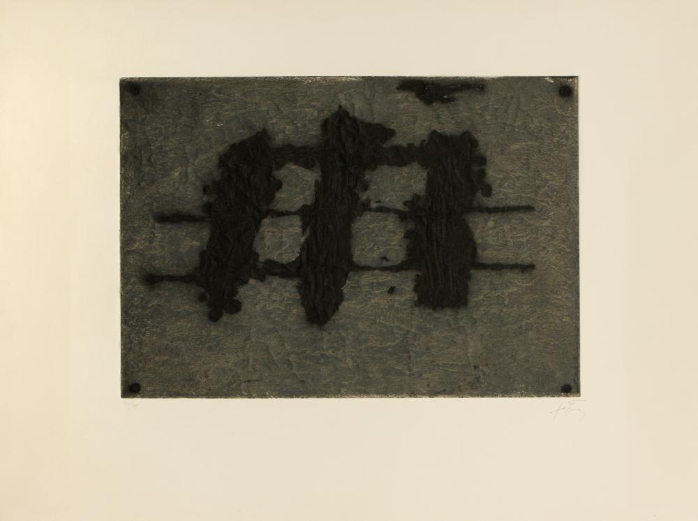 Antoni Tàpies (Spain 1923-2012) Trois Taches et Trois Lignes Noires (Three Spots and Three Black Lines), 1972
