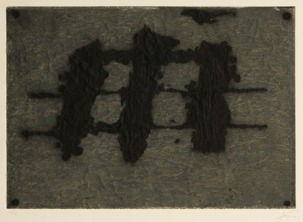 Antoni Tàpies (Spain 1923-2012) Trois Taches et Trois Lignes Noires (Three Spots and Three Black Lines), 1972