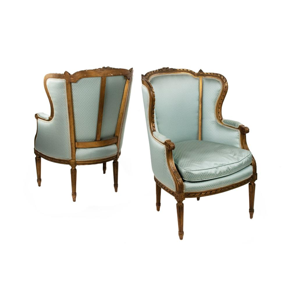 Pair of French Louis XVI Style Bergere Chairs