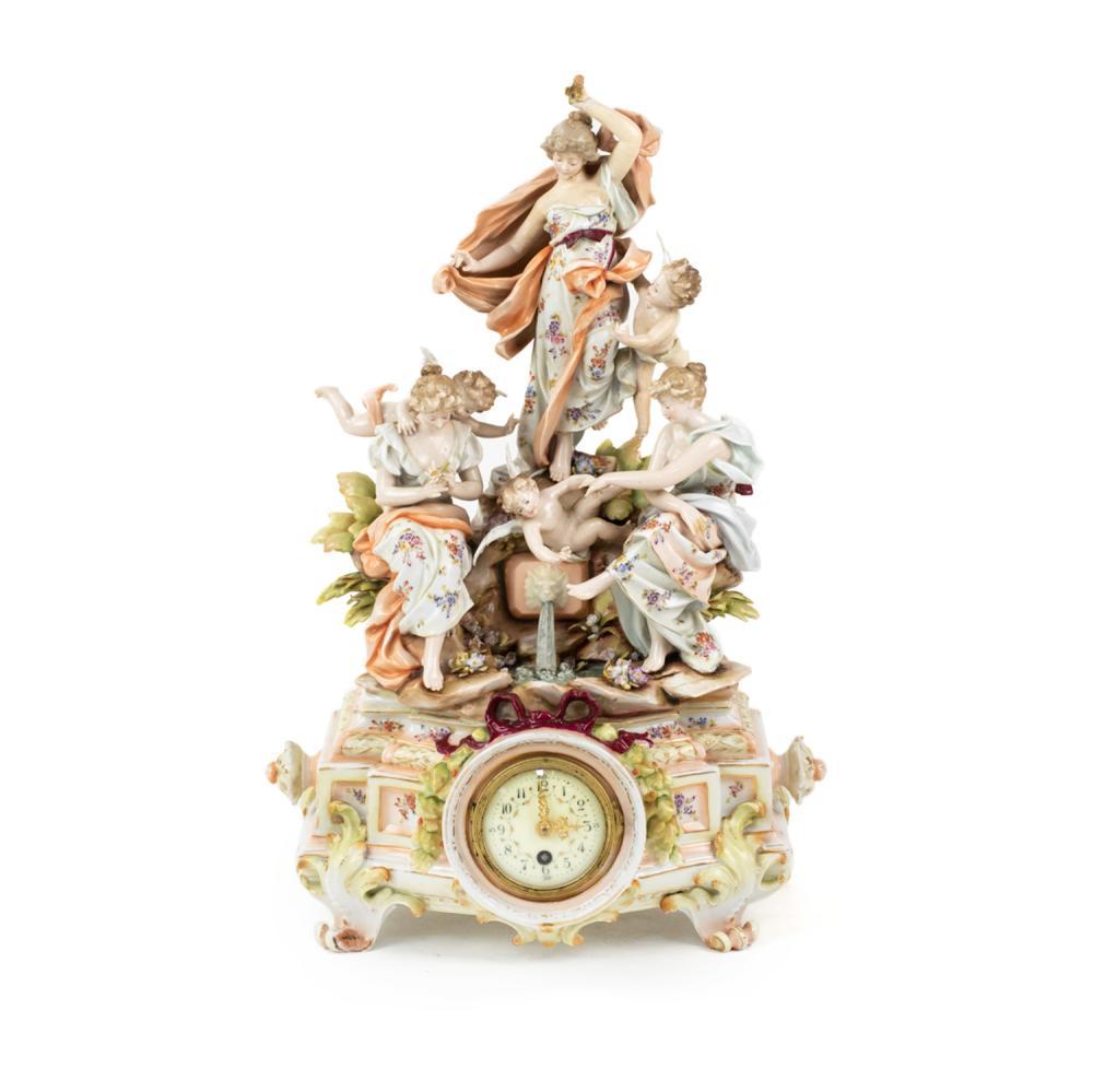 Meissen Porcelain Women with Cherubs Mantel Clock