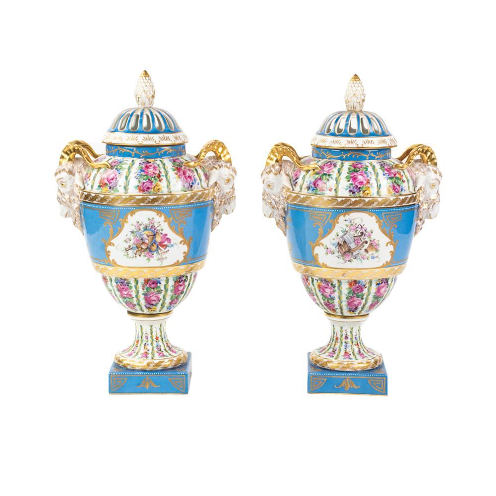 Pair of Dresden Germany Porcelain Floral Lidded Urns