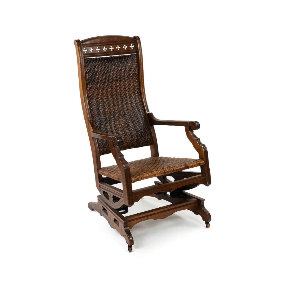 19th C. English Eastlake Victorian Cane Rocking Chair